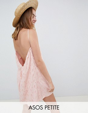 photo Low Back Mini Sundress in Heart Broderie by ASOS DESIGN Petite, color Washed Pink - Image 1