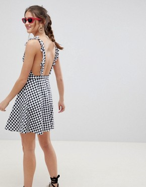 photo Gingham Pinafore Mini Sundress by ASOS DESIGN, color Black/White - Image 2