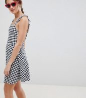 photo Gingham Pinafore Mini Sundress by ASOS DESIGN, color Black/White - Image 1