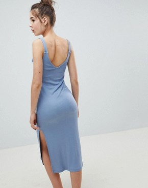 photo Knot Strap Rib Column Dress by ASOS DESIGN, color Chambray - Image 2
