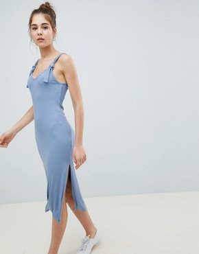 photo Knot Strap Rib Column Dress by ASOS DESIGN, color Chambray - Image 1