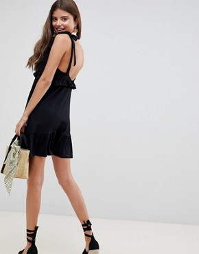 photo Tie Strap Sundress with Pep Hem by ASOS DESIGN, color Black - Image 2