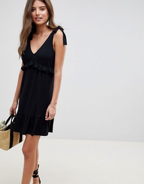 photo Tie Strap Sundress with Pep Hem by ASOS DESIGN, color Black - Image 1