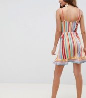 photo Wrap Mini Sundress with Frill Detail in Bright Stripe by ASOS DESIGN, color Multi Stripe - Image 2