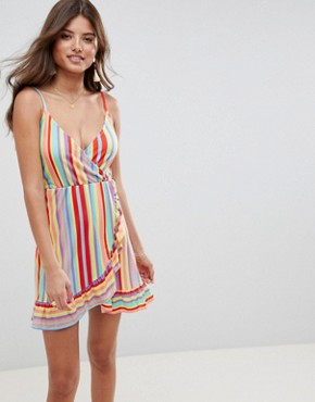 photo Wrap Mini Sundress with Frill Detail in Bright Stripe by ASOS DESIGN, color Multi Stripe - Image 1