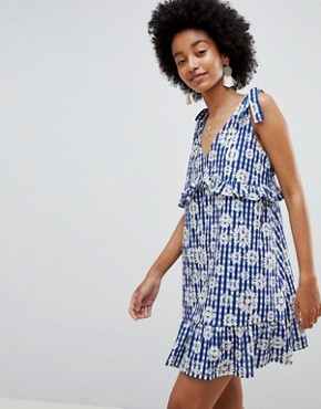 photo Tie Strap Sundress with Pep Hem in Floral Gingham by ASOS DESIGN, color Floral Gingham - Image 1