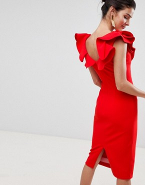 photo Kora Ruffle Shift Dress by Coast, color Red - Image 2
