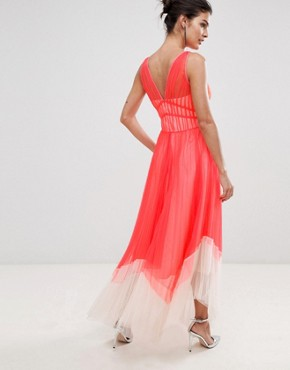 photo Luca Pleated Colour Block Maxi Dress by Coast, color Coral - Image 2