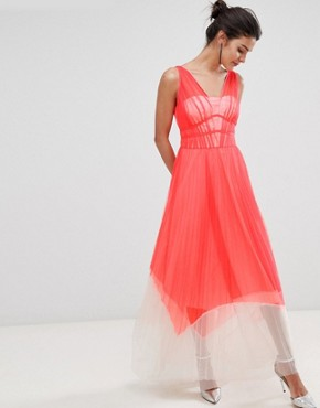 photo Luca Pleated Colour Block Maxi Dress by Coast, color Coral - Image 1