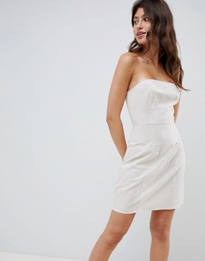 photo Linen Bandeau Mini Sundress by ASOS DESIGN, color Off White - Image 1