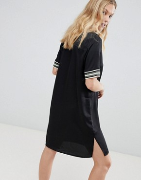 photo Shift Dress with Sporty Glitter Stripe Trims by Maison Scotch, color Black - Image 2