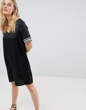 photo Shift Dress with Sporty Glitter Stripe Trims by Maison Scotch, color Black - Image 1