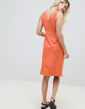 photo Linen Button Through Wrap Midi Sundress by ASOS DESIGN, color Rust - Image 2