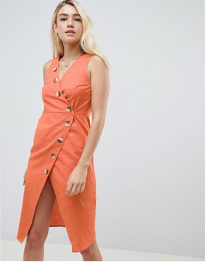 photo Linen Button Through Wrap Midi Sundress by ASOS DESIGN, color Rust - Image 1