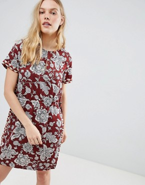 photo Floral Print Dress with Elasticated Waist by Maison Scotch, color Multi/Red - Image 1