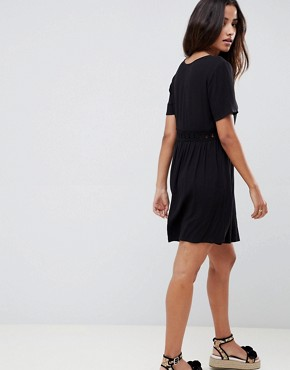 photo Smock Mini Dress with Lace Insert by ASOS DESIGN, color Black - Image 2