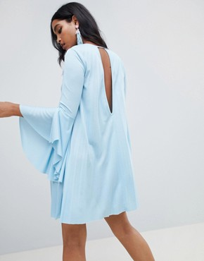 photo Pleated Mini Shift Dress by ASOS DESIGN, color Blue - Image 2