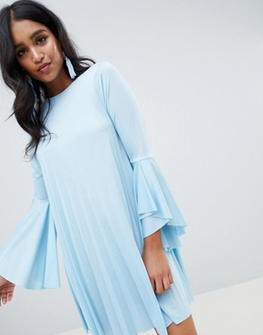 photo Pleated Mini Shift Dress by ASOS DESIGN, color Blue - Image 1