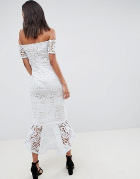 photo Lace Bardot Fishtail Midi Dress by Missguided Tall, color Light Blue - Image 2
