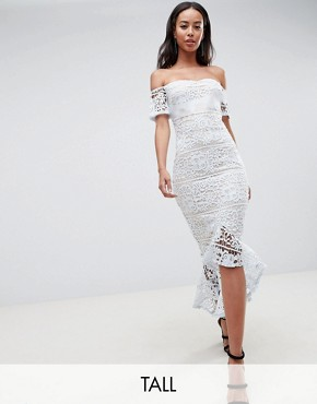 photo Lace Bardot Fishtail Midi Dress by Missguided Tall, color Light Blue - Image 1