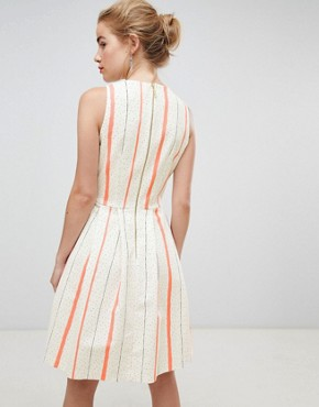 photo Wrap Front Skater Dress in Contrast Stripe by Closet London, color White Stripe - Image 2