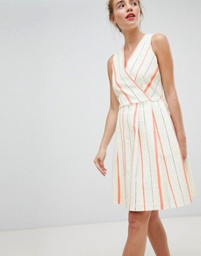 photo Wrap Front Skater Dress in Contrast Stripe by Closet London, color White Stripe - Image 4