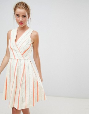 photo Wrap Front Skater Dress in Contrast Stripe by Closet London, color White Stripe - Image 1