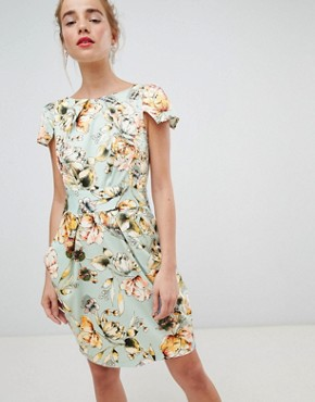 photo Cap Sleeve Pencil Dress in Floral Print by Closet London, color Cream Multi - Image 1