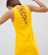 photo Lace up Swing Dress by Noisy May, color Yellow - Image 2