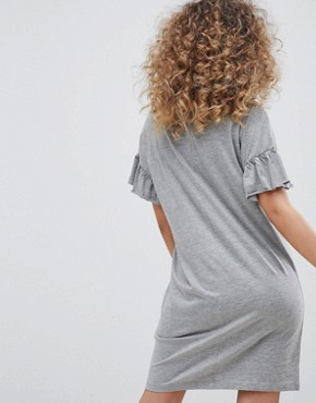 photo Ruffle Sleeve t-shirt Dress by Noisy May, color Grey - Image 2