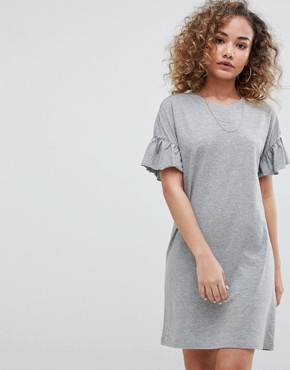 photo Ruffle Sleeve t-shirt Dress by Noisy May, color Grey - Image 1