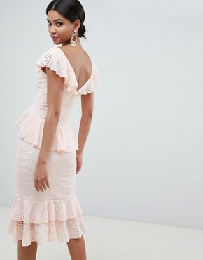 photo Pretty Lace Ruffle Midi Dress by ASOS DESIGN, color Pink - Image 2