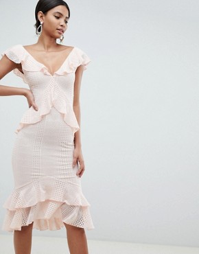 photo Pretty Lace Ruffle Midi Dress by ASOS DESIGN, color Pink - Image 1