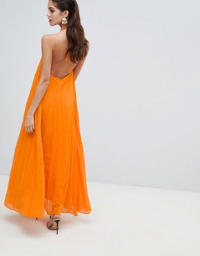 photo Pleated Low Back Maxi Dress by Missguided, color Orange - Image 2