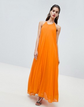 photo Pleated Low Back Maxi Dress by Missguided, color Orange - Image 1