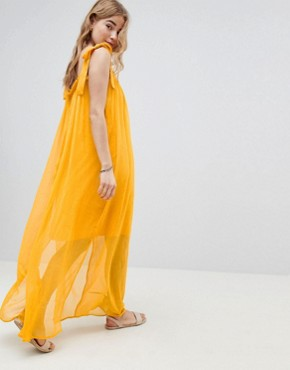 photo Tassel Tie Maxi Beach Dress by MW by Matthew Williamson, color Yellow - Image 2