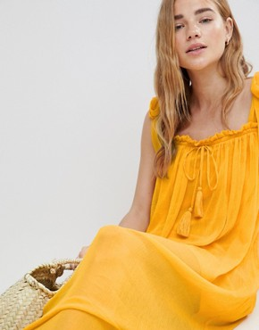 photo Tassel Tie Maxi Beach Dress by MW by Matthew Williamson, color Yellow - Image 3