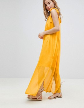 photo Tassel Tie Maxi Beach Dress by MW by Matthew Williamson, color Yellow - Image 4