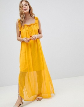 photo Tassel Tie Maxi Beach Dress by MW by Matthew Williamson, color Yellow - Image 1