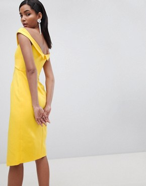 photo Twisted Off the Shoulder Wrap Midi Dress by Lavish Alice, color Yellow - Image 2