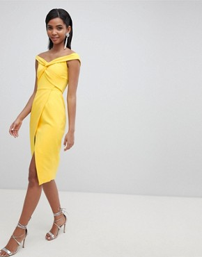 photo Twisted Off the Shoulder Wrap Midi Dress by Lavish Alice, color Yellow - Image 1
