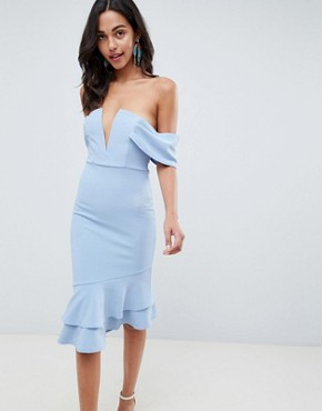 photo V-Bar Textured Midi Bodycon Pephem Dress by ASOS DESIGN, color Blue - Image 1