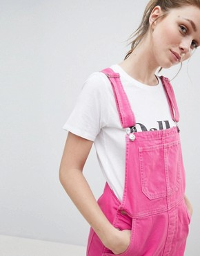 photo Dungaree Dress in Pink by Bershka, color Pink - Image 3