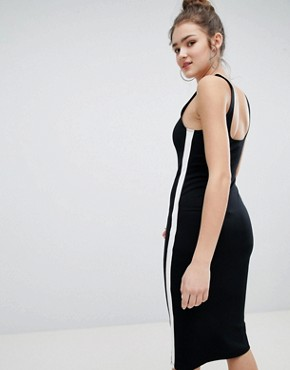 photo Jersey Midi Dress in Black by Bershka, color Black - Image 2