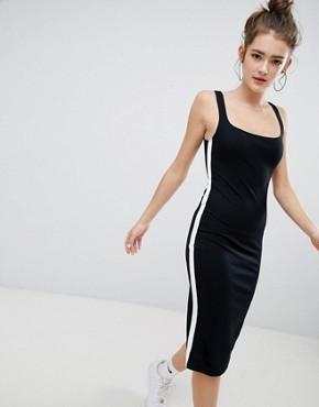 photo Jersey Midi Dress in Black by Bershka, color Black - Image 1