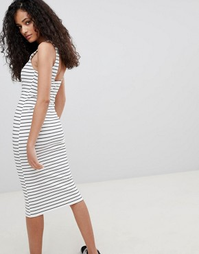 photo Jersey Midi Dress in Multi Stripe by Bershka, color Multi - Image 2