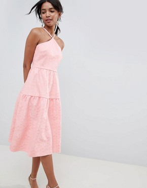 photo Tiered Lace Prom Dress by ASOS DESIGN, color Rose - Image 1