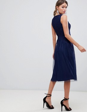 photo Lace Top Mesh Pleated Midi Dress by ASOS DESIGN, color Navy - Image 2