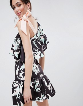 photo Floral One Shoulder Ruffle Mini Dress with Bow Detail by ASOS DESIGN, color Print - Image 2