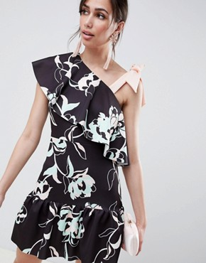 photo Floral One Shoulder Ruffle Mini Dress with Bow Detail by ASOS DESIGN, color Print - Image 1